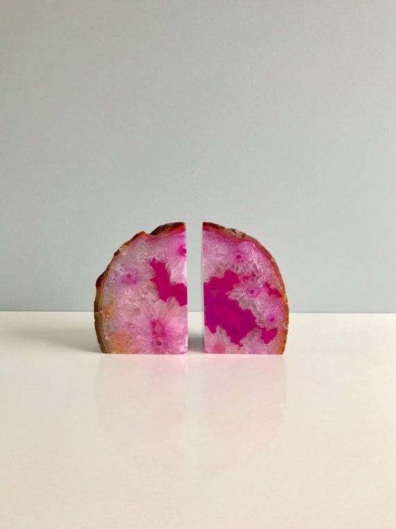 Hey, I found this really awesome Etsy listing at https://www.etsy.com/listing/488758666/pink-agate-bookends-geode-bookends