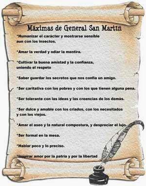 Cómo trabajar las máximas de San Martín en la escuela.