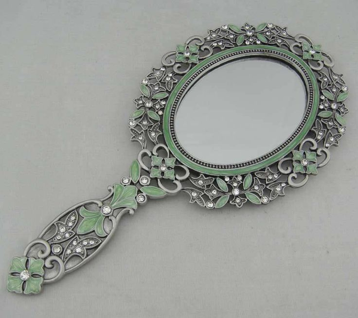 Antique Hand Painted Enamel Oval Hand Mirror P04001a