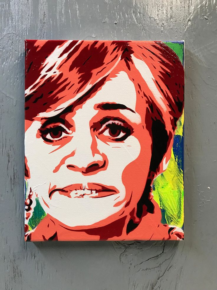 "Amy Sedaris Painting - 8""x10""x1"" Acrylic and Spray Paint on Gallery Canvas - Ready to Hang"