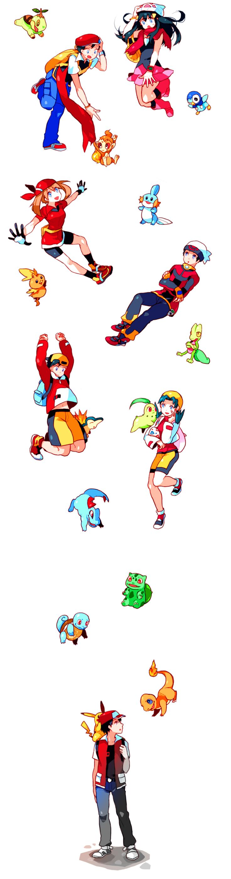 Turtwig, Chimchar, Piplup, Dawn/Hikari (Pokémon), Diamond (Pokémon), May/Haruka (Pokémon), Ruby (Pokémon), Torchic, Mudkip, Treecko, Gold (Pokémon), Crystal (Pokémon), Cyndaquil, Chikorita, Totodile, Bulbasaur, Squirtle, Charmander, Red (Pokémon), Pikachu (by Dada, Pixiv Id 76218)