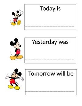 """This shows Mickey mouse next to """"today"""" """"tomorrow"""" and """"yesterday"""". Perfect addition to put next to your calendar."""