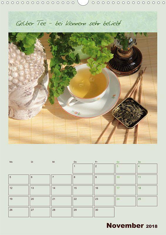 """Küchenkalender mit Planer """"Meine Welt des Tees"""", Kalenderblatt November: Gelber Tee"""