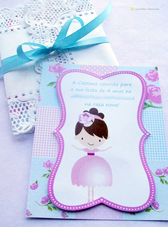 The doll cartoon chosen with fabric pattern on the back to make this invitation