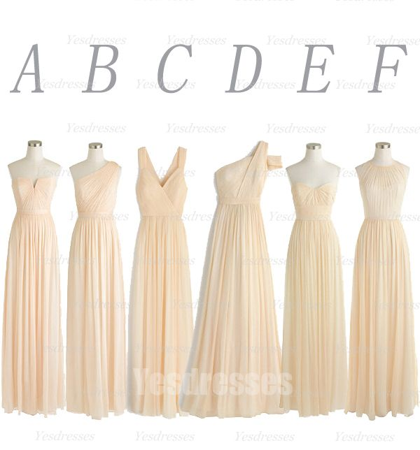 champagne bridesmaid dress, wedding party dress, mismatched bridesmaid dress…