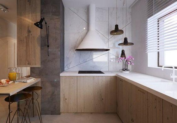 plan de travail cuisine en corian blanc et murs simili marbre et granit: