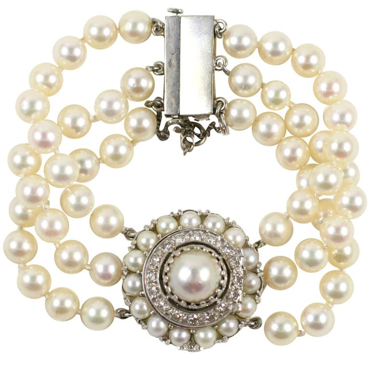 Lucien Piccard White Gold, Pearl & Diamond Bracelet Watch