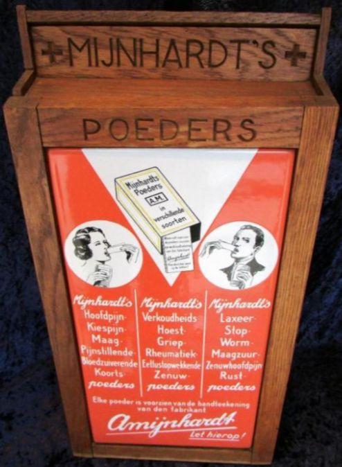 Mijnhardt's Poeders - winkelkastje van hout - voorzijde