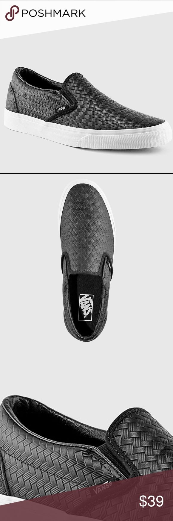 Vans Woven and Embossed Black Leather Slip Ons' The Classic Slip-On has a low profile, slip-on canvas upper with all-over checker print, elastic side accents, Vans flag label and Vans original Waffle Outsole. - Vans Shoes Sneakers