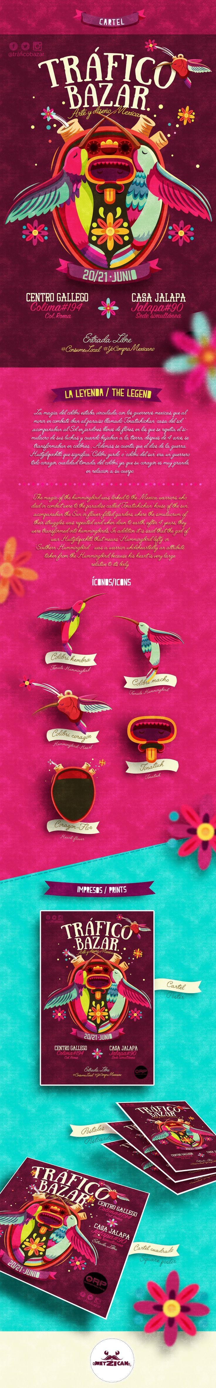 Cartel realizado para Tráfico Bazar, basado en Leyenda Maya acerca de los Colibríes, y adaptando en el contexto algunas características del Dios Huitzilopochtli.