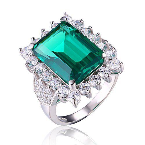 JewelryPalace 7.59ct Elégant Bague Femme en Argent Sterling 925 en Emeraude de Synthèse Verte Taille 59.5