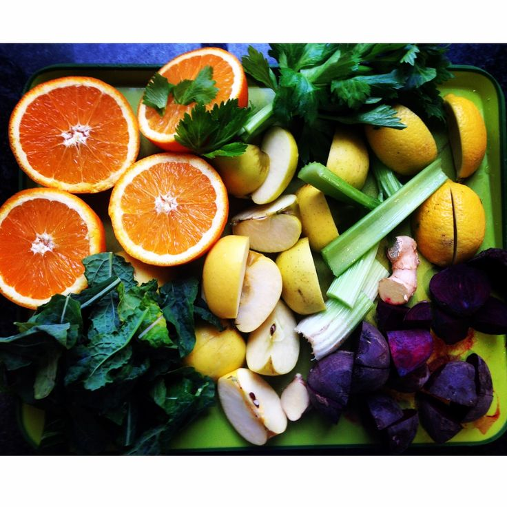 All the ingredients for a healthy, vitamin and nutrient packed juice! Orange, apple, beetroot, celery, kale, lemon and ginger