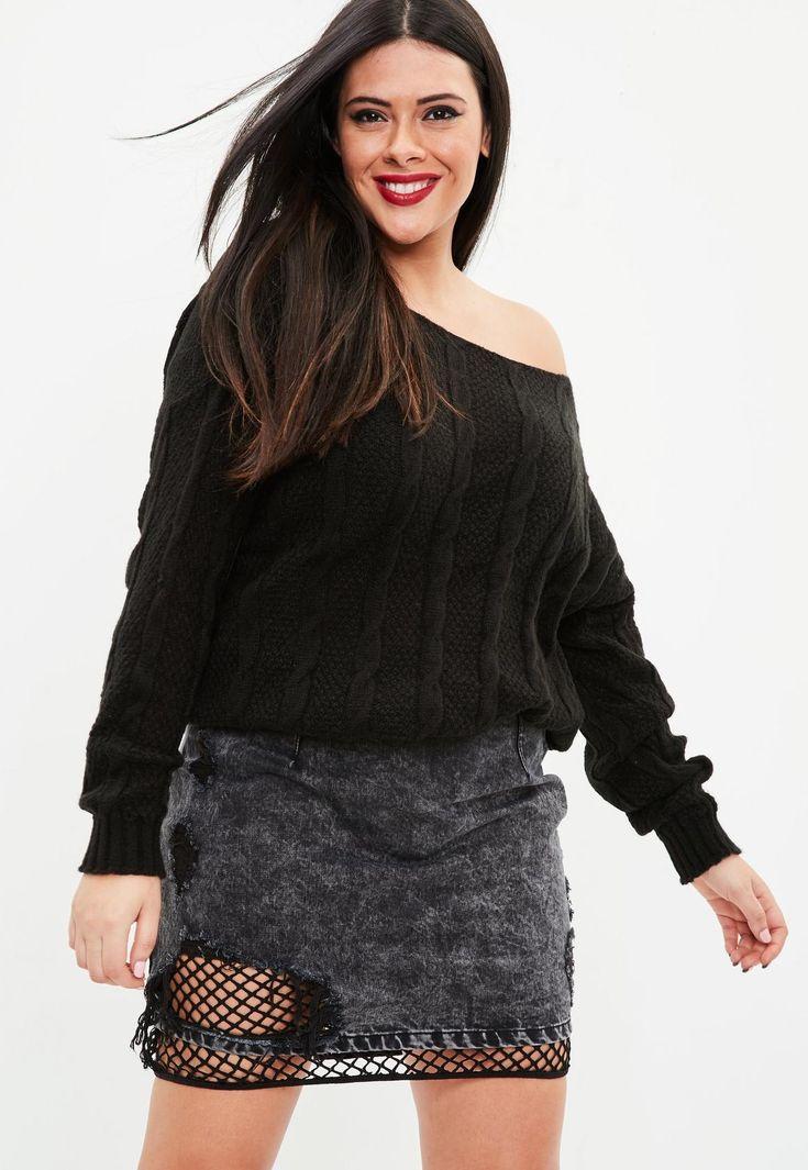 Missguided - Jersey talla grande asimétrico de punto trenzado en negro