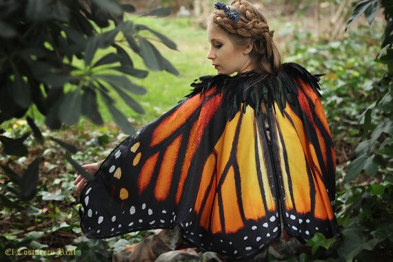 Monarch Butterfly Fairy cape cloak orange and black isis wings costume short small