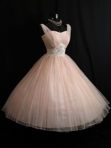Vintage 1950's 50s Pink Beaded Ruched Chiffon Organza