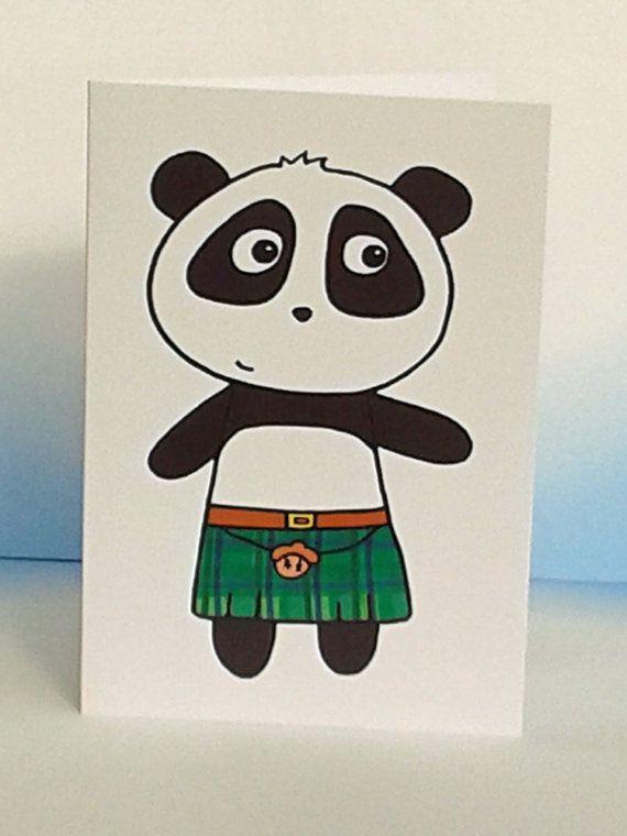 Cute Panda Card  Kilted Scottish panda  by penguinparadeshop