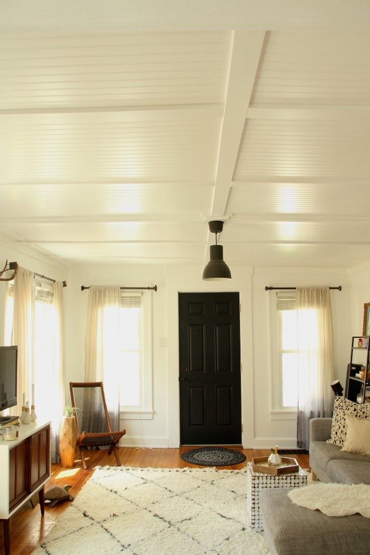Above: Reluctant to tear down their ceilings, Wright and her husband settled on premade beadboard paneling that they painted and installed themselves. Get the details in Rehab Diaries: DIY Beadboard Ceilings and on Wright's own blog, Lifestyle and Design Online.