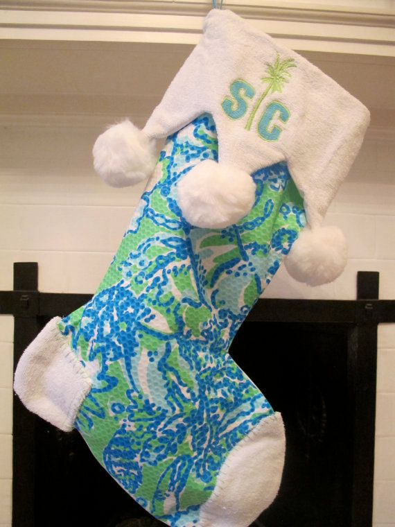 lilly pulitzer monogrammed stocking with jester by amilesdesigns, $75.00