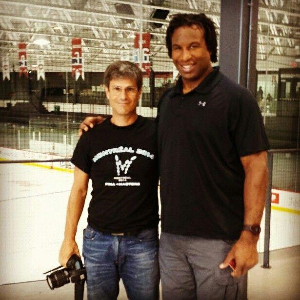 Massimo Leopardi (Veggie Channel) & Georges Laraque (retired Canadian professional ice hockeyforward,100% vegan) in Montreal