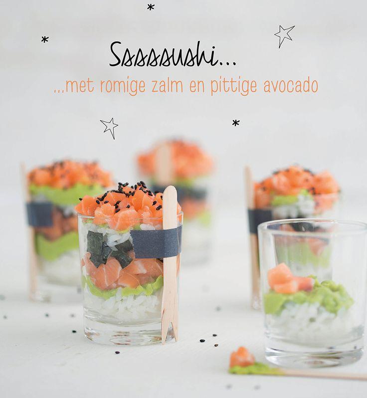Culy.nl - Sushi in een glaasje (met romige zalm en pittige avocado) -