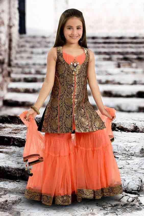 185cf4ef8 Orange and metallic jamawar baby girls sharara dress designs 2018 for  wedding party with dupatta