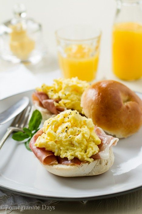 Bagel with Scrambled Eggs, Proscuitto and Truffle Oil www.pomegranatedays.co.za