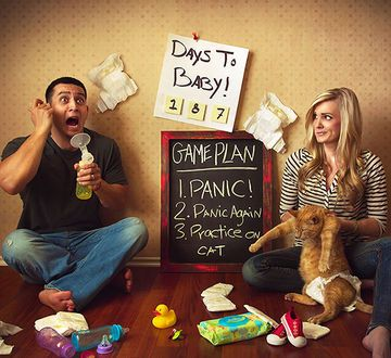 """""""My husband and I got a HUGE surprise on an early December 2014 morning! I thought it would be fun to make a photo that really showed how we (and usually many new parents) are feeling! Now that the original shock has passed, we are very excited and starting to plan our new lives with our first little one!"""""""