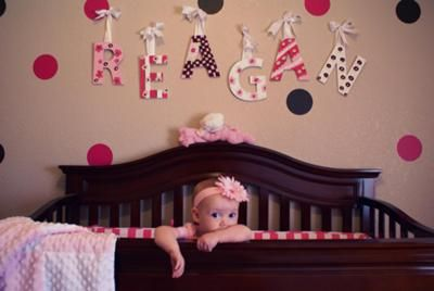 Our baby girl reagan and her cozy crib the wooden letters for Baby name decoration