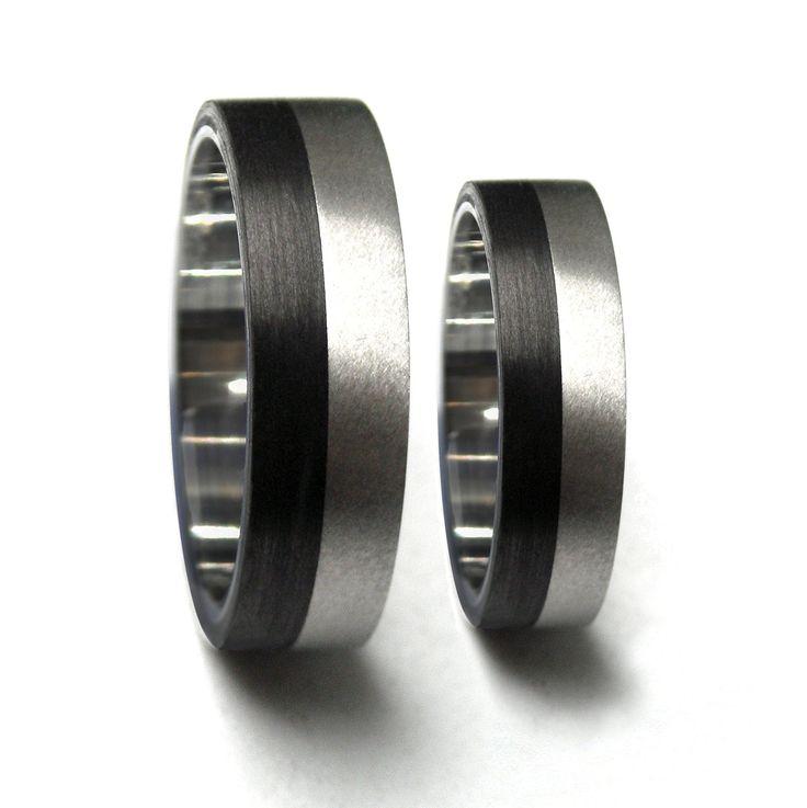 Carbon Fiber & Titanium Wedding Rings by Rosler on Etsy, $253.00