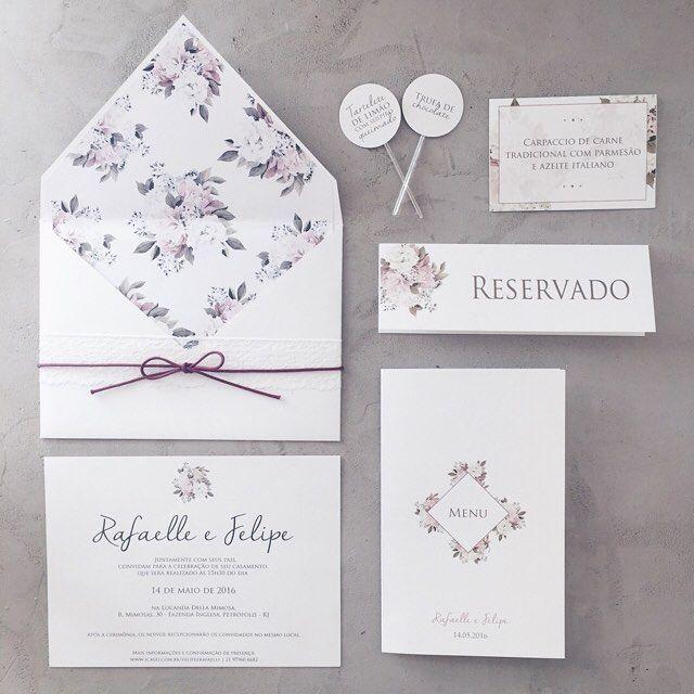 convite de casamento; convite de casamento classico; convite de casamento floral; envelope com forro estampado;