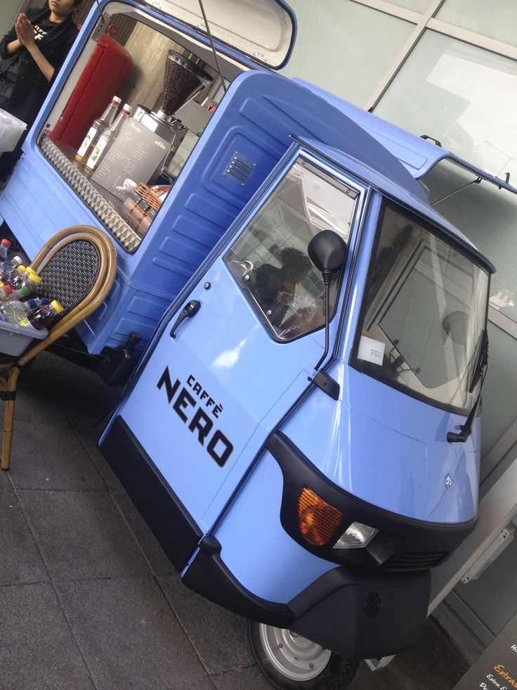 Coffee Van converted by www.coffeelatino.co.uk for Caffe Nero. Piaggio Ape 50