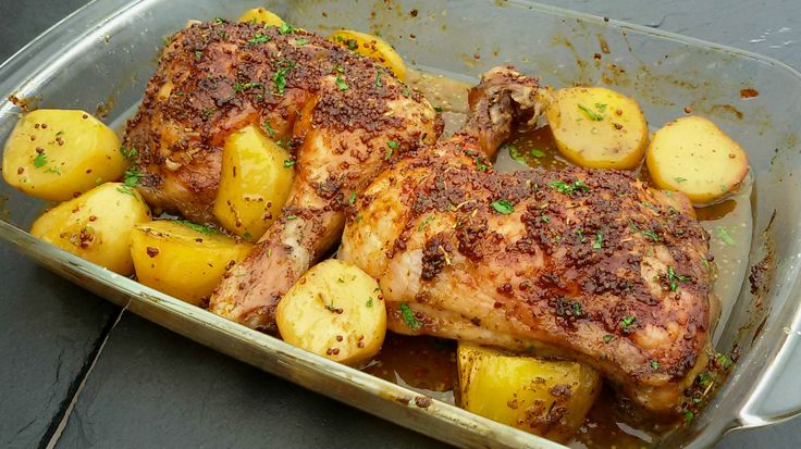 Pollo asado con miel y mostaza