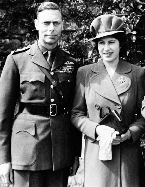 Princess Elizabeth with her father, George VI, in 1944.