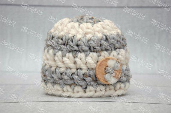 Newborn boy hat baby boy hat grey ecru newborn by emmascozyattic, $24.00