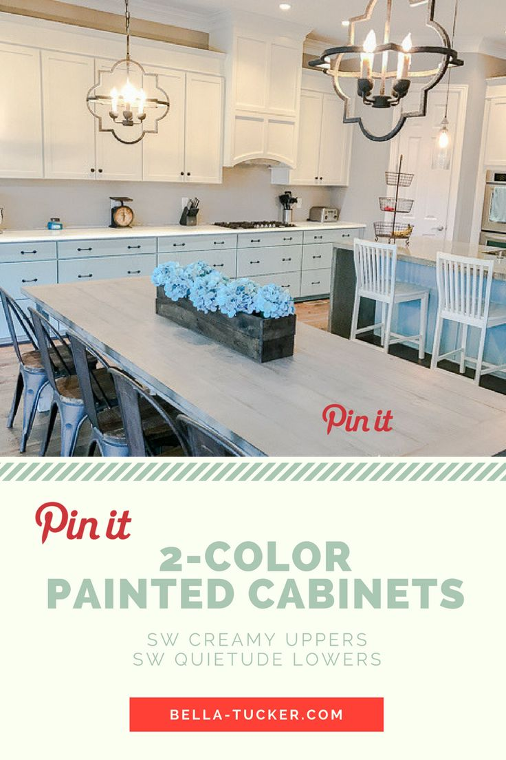 Annie sloan chalk painted fabric chairs by bella tucker decorative - Kitchen Cabinets Painted Two Colors Sherwin Williams Creamy And Sherwin Williams Quietude By Bella Tucker