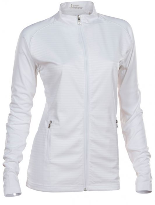 Love Golf Jackets? Here's our  White Nancy Lopez Ladies & Plus Size Quake Full Zip Golf Jacket! Find plenty of Golf Outfits here at #lorisgolfshoppe