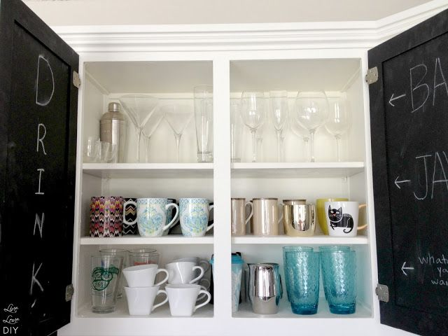 10 steps to paint your kitchen cabinets the easy way - an easy tutorial anyone can use!  and I love the chalkboard inside of cabinets!