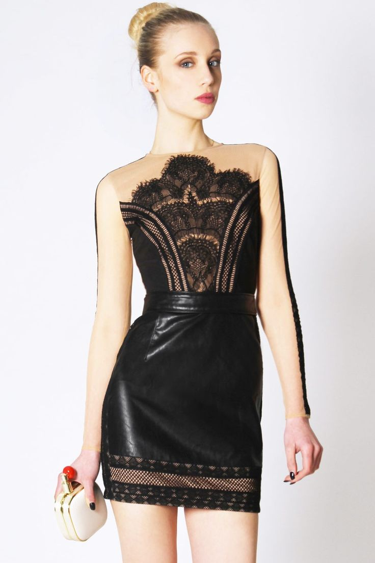 Lace and leather black dress