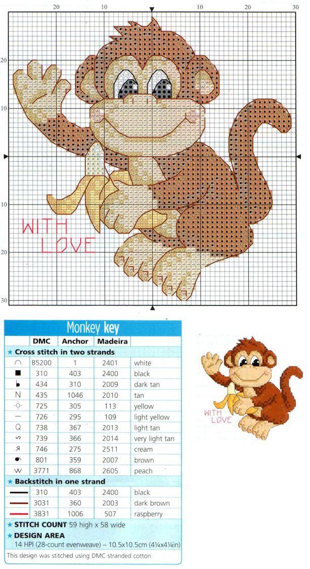 Cross Stitch Card Shop, Monkey - With Love