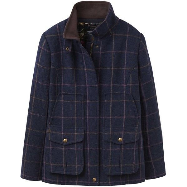 Women's Joules Tweed Field Coat (1404355 PYG) ❤ liked on Polyvore featuring outerwear, coats, funnel-neck coats, blue military coat, field coat, checkered coat and tweed wool coat