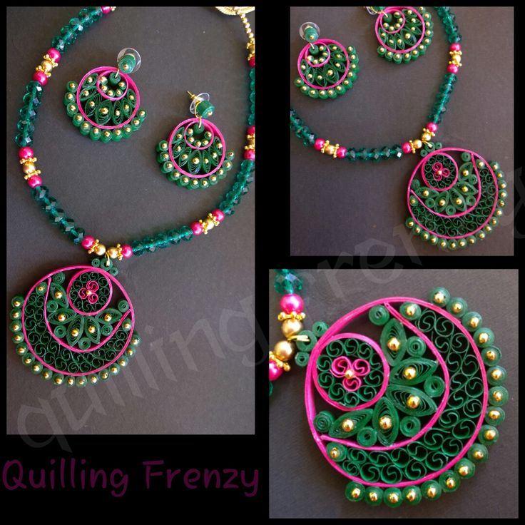 Quilling Earrings More Designs : Green and pink traditional ram leela design earrings set! Pendants.. Quilling Frenzy ...