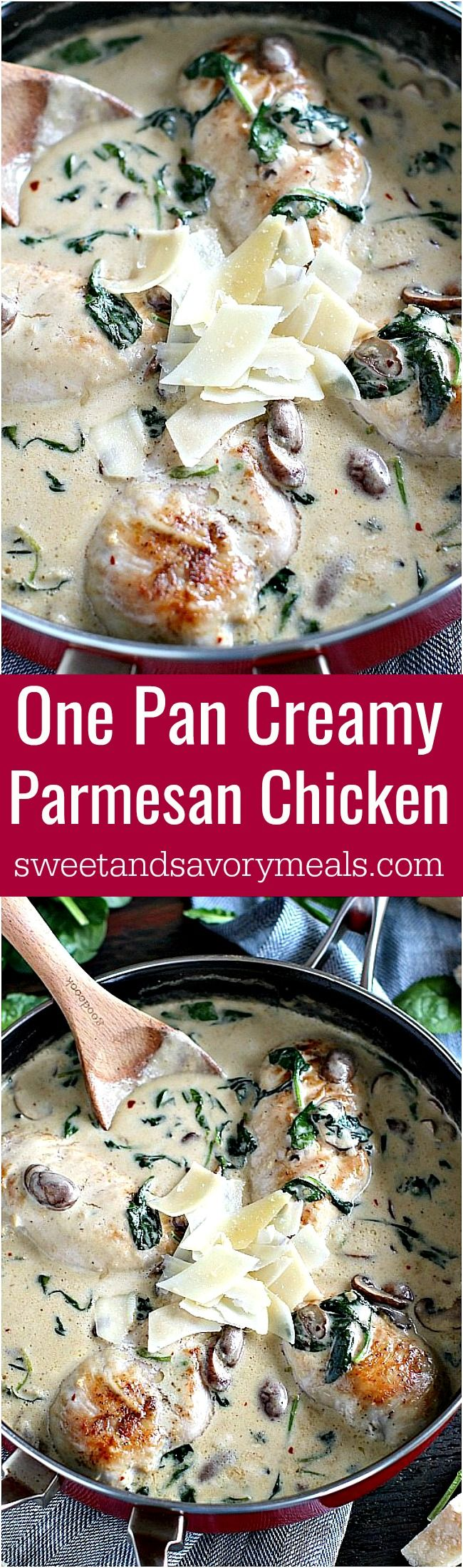 Creamy Parmesan Mushroom Chicken is made easy in One Pan and is ready in 30 minutes.   Omit wine