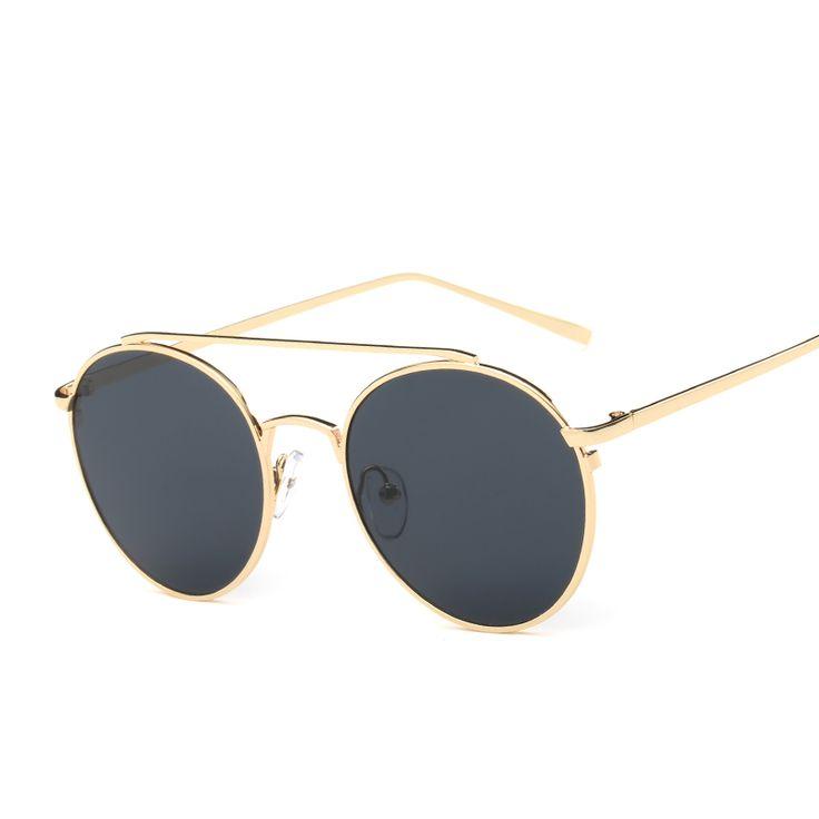 Fashion Oval Women Sunglasses New Brand Design Mirror Flat Rose Gold Vintage Sun glasses UV400 Unisex Female Male Eyewear