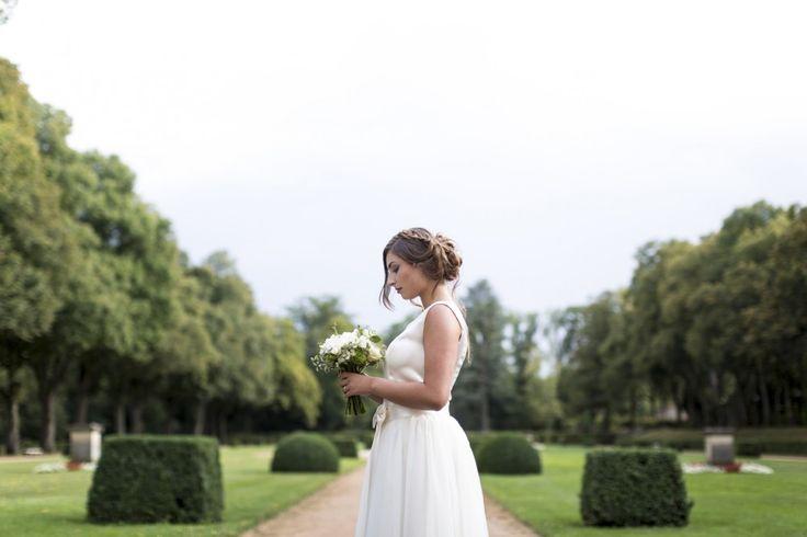 robe de mariée transformable en 2 pièces avec robe courte et jupon en tulle d'inspiration rétro