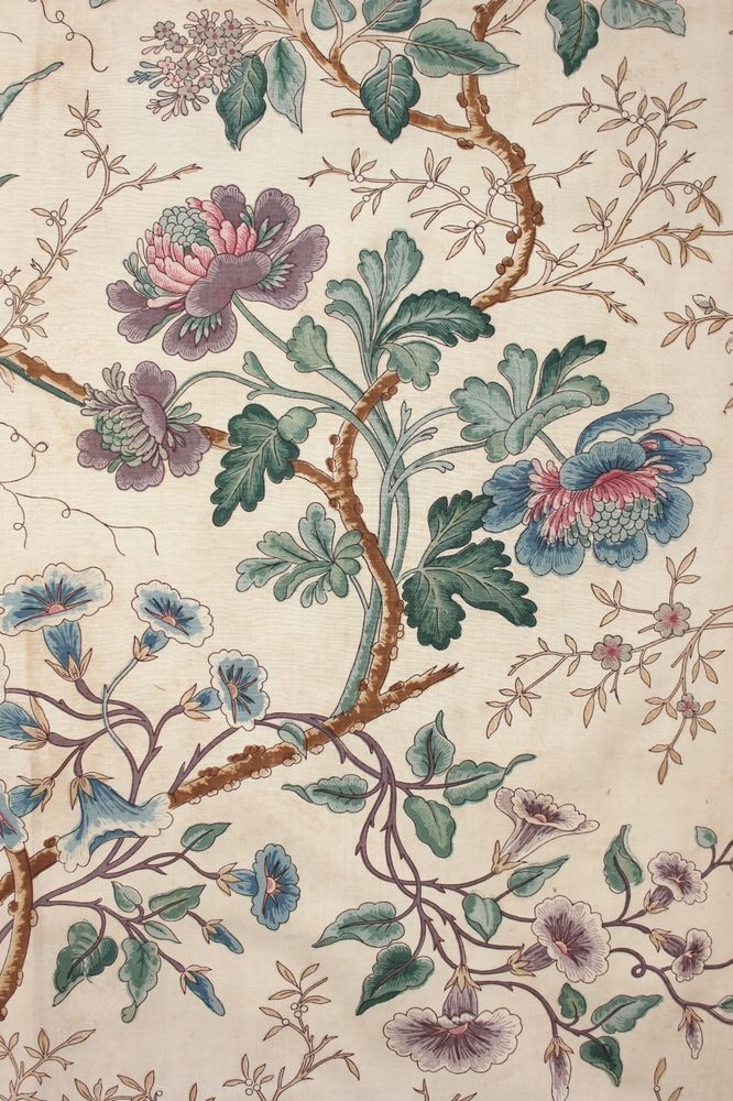 Antique french printed chintz fabric indienne 19th for Chintz fabric