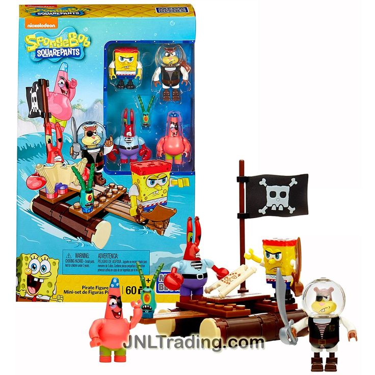 Mega Bloks Year 2015 Spongebob Squarepants Series Set #CNH56 - PIRATE FIGURE PACK with Raft, SpongeBob, Sandy, Mr. Krabs, Patrick & Plankton (Pcs:60)