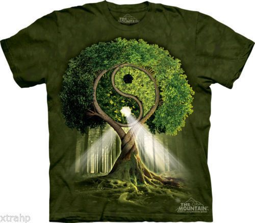 T SHIRT THE MOUNTAIN 3D  YIN YANG TREE  L ALBERO DELL  EQUILIBRIO UNISEX ADULT