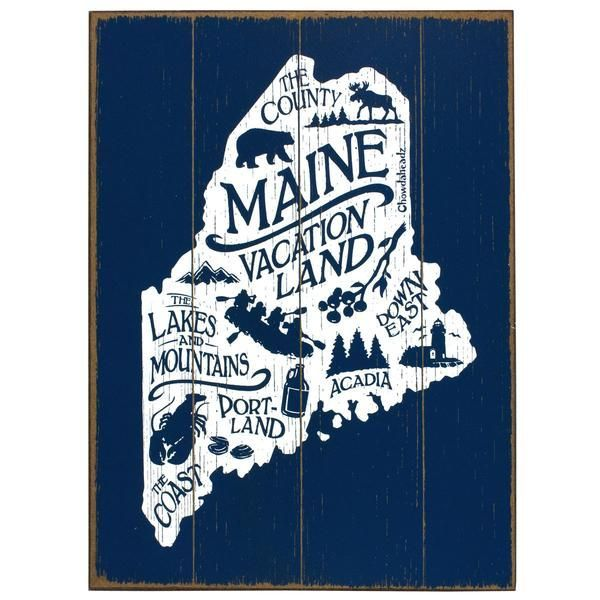 Maine Vacationland Wood Sign Maine Decor Maine Art Maine Gifts
