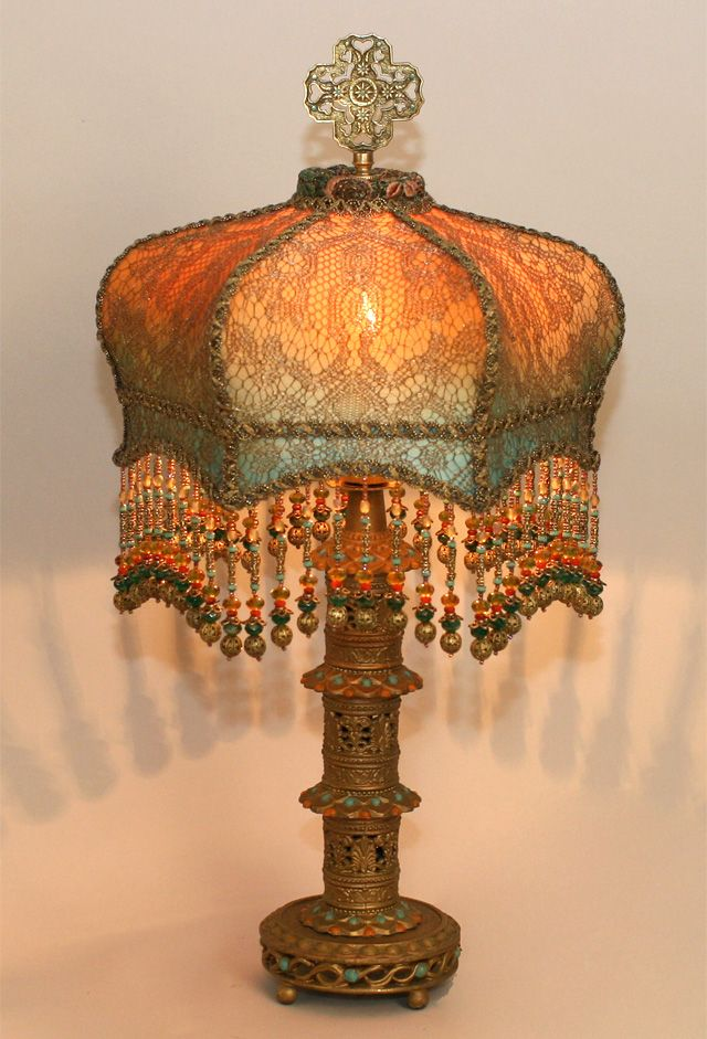 129 best bridge lamp shades images on pinterest antique lamps vintage bohemian lampshade the beading the lace the gold handmade by christine kilger aloadofball Images
