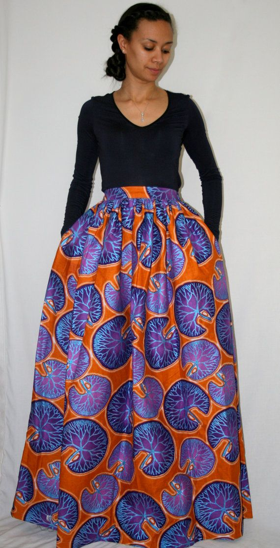 African Print Maxi Skirt with pockets by MelangeMode